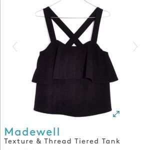 Madewell Texture & Thread Tiered Black Tank